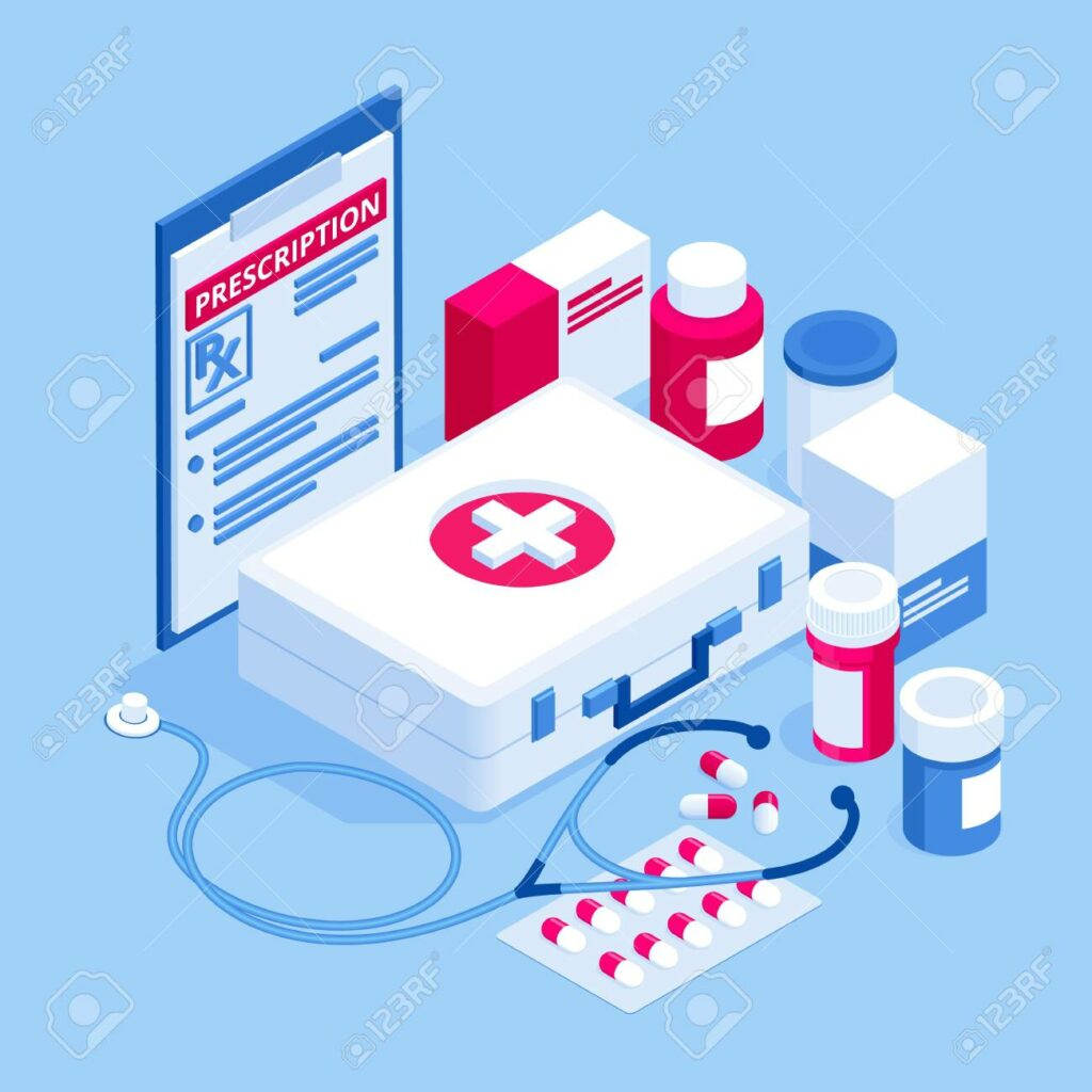 Online doctor at work. Health medical science. Medicine and pharmacy banners. Pharmacist care for the patient. Medicine industry.